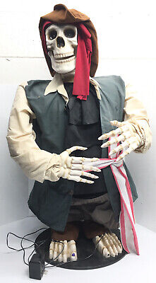 Rare GEMMY 5' Halloween ANIMATED DANCING PIRATE SKELETON Sings Lights Moves