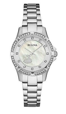 Bulova Women's Quartz Crystal Accent Heart Motif Dial 30mm Watch 96L226