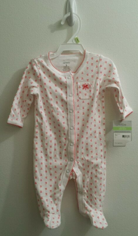 Carters Baby Girl Size 3 Months Cotton Footed Sleep Play Pajamas Snap Front