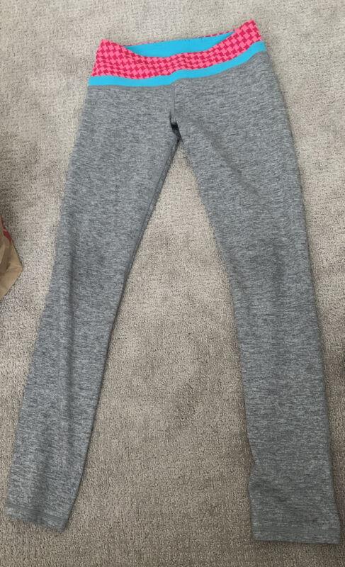 EUC Ivivva Lululemon Girls 12 Full Length Active Leggings Gray Multi Waistband