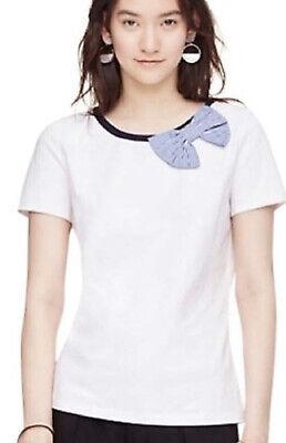 Kate Spade Broome Street Bow Tee Womens XL Short Sleeve White Blue NWT