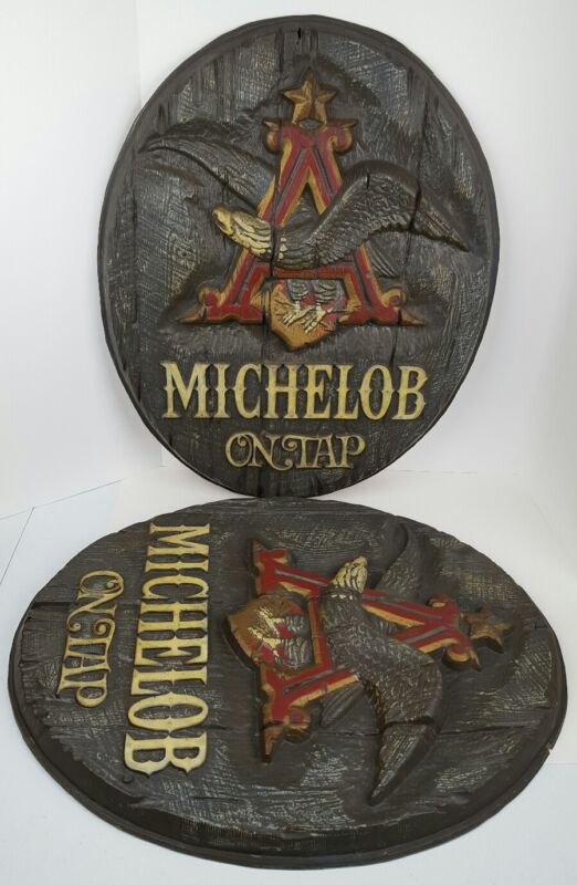 (2) Vintage Michelob Beer On Tap 3D Anheuser Busch Flying Eagle Plastic Signs