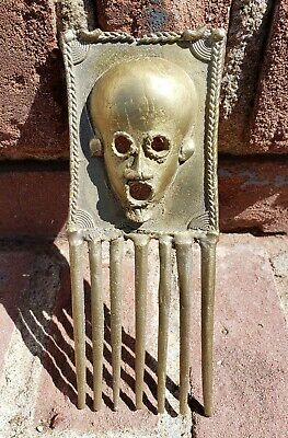 Vtg African Ethnographic Brass Comb Afro Pick Ivory Coast Unknown Tribe COOL!!!