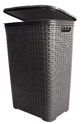 Wäschekorb Rattan Kunststoff Wäsche Box Truhe Sammler Tonne mit Deckel 65 Liter