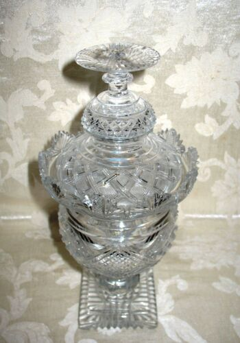 Antique Victorian Cut Glass Covered Compote Early - Mid 1800s has Staple Repairs