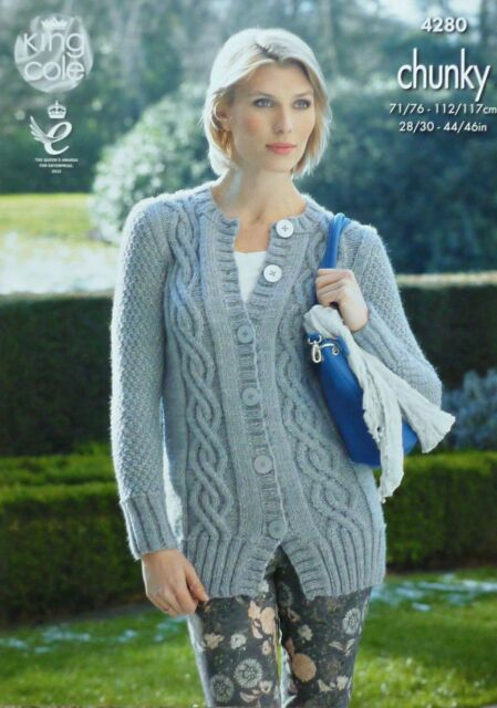 KNITTING PATTERN Ladies Long Sleeve Long Cable Jacket Chunky King Cole 4280