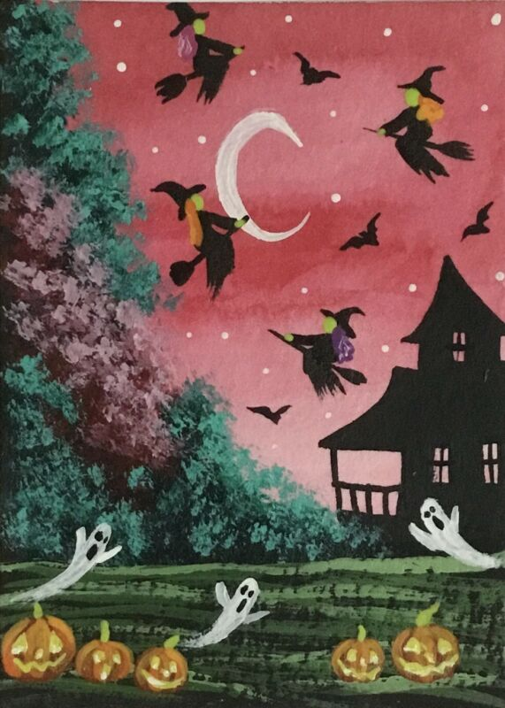 ACEO Original Halloween Watercolor & Acrylic Sketch Card Pumkpins Witches Ghosts