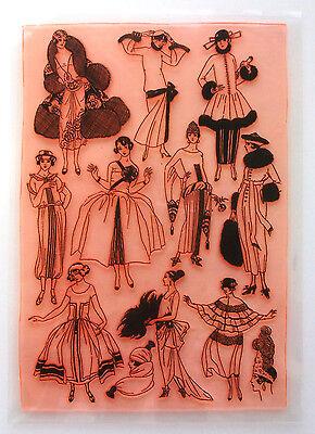 """Clear Stamps Sheet 7""""x10"""" ~ Vintage Fashion Belle Epoque FLONZ Rubber 403-128"""