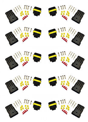 10pcs x SUPERSEAL WATERPROOF TERMINAL ELECTRICAL WIRE CONNECTOR KIT PLUG 4 WAY