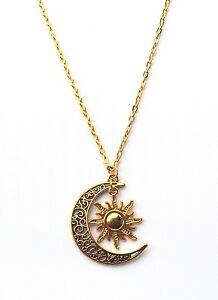 Sun & Crescent Moon Charm Necklace Boho Jewellery Gypsy Bohemian Ethnic A195