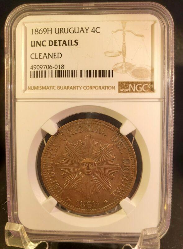 1869 a Uruguay 4 Centesimos - NGC UNC Details