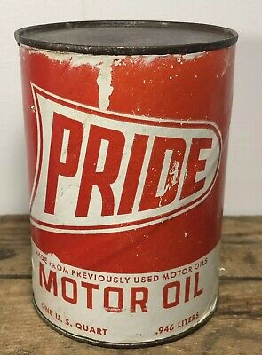 Vtg PRIDE Motor Oil 1 Quart Oil Can Full Composite Rare Doraville Georgia Scarce