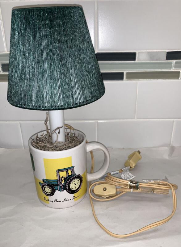 "Vintage John Deere Green Tractor Gibson Mug Coffee Cup 11"" Lamp Light W Shade Ko"
