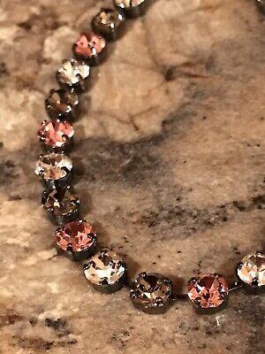 Classic Necklace Choker Black Diamond Rose W/ Swarovski Crystals Hematite Chain