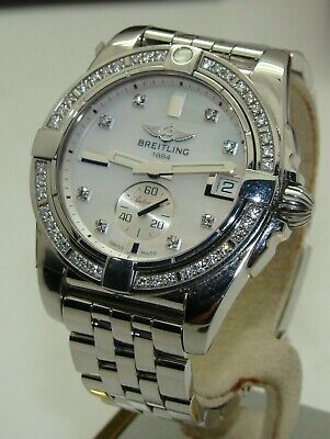 BREITLING WOMEN's AUTOMATIC 36mm GALACTIC MOP DIAMOND DIAL & BEZEL A37330 BOX/PP