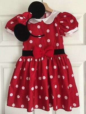 Minnie Mouse Costume For Girls (Preowned Disney Girls Youth Minnie Mouse Costume Dress With Headband Red Size)