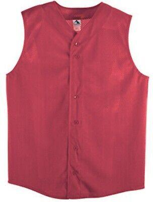 6 Pack Augusta Sportswear Pro Mesh Sleeveless Button Front Jersey Adult 2XL Red Augusta Sleeveless Jersey
