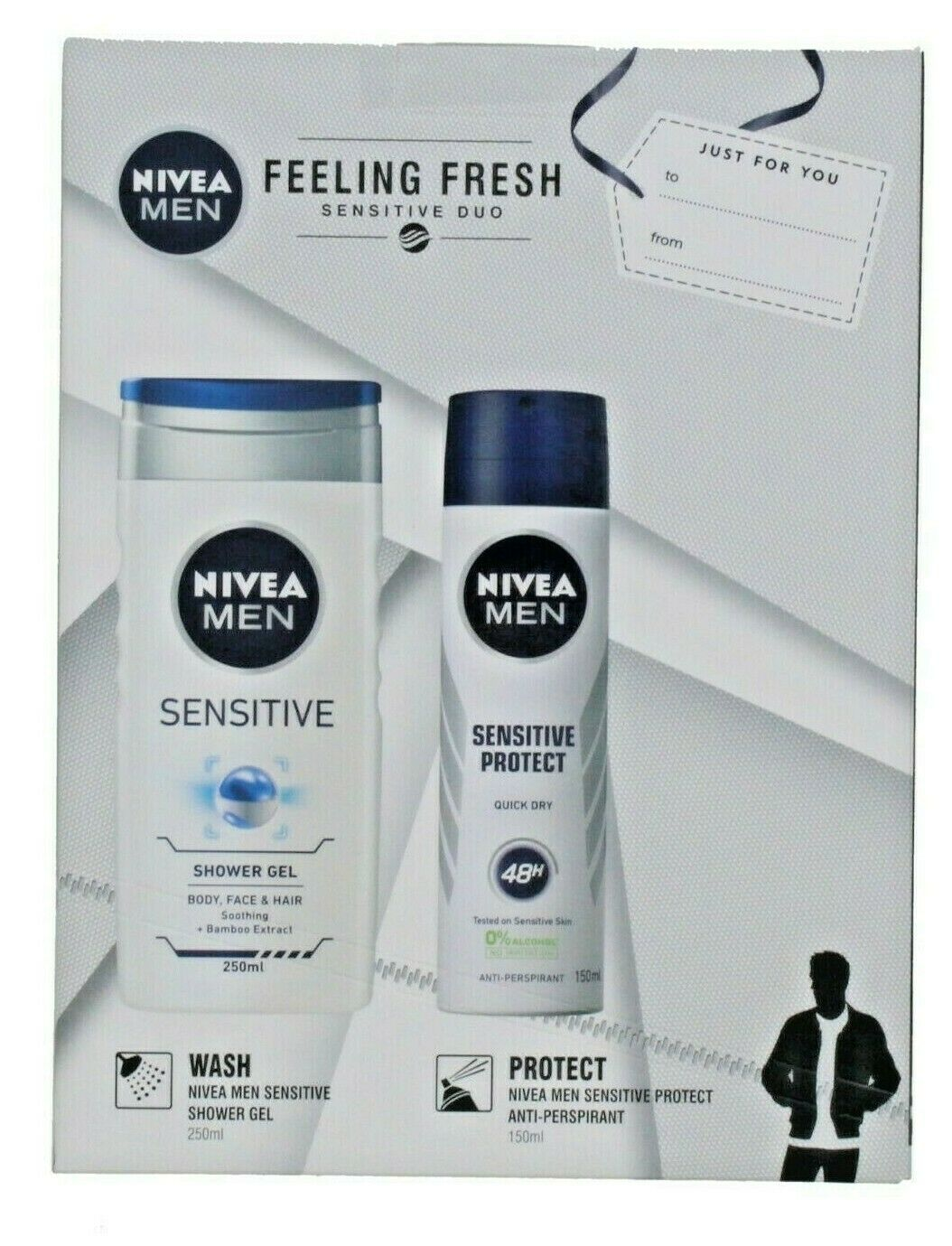 Nivea Men Feeling Fresh Duo Gift Set - Sensitive Skin - 2 Full Size Products