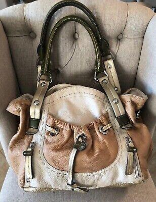 B. MAKOWSKY Pebbled Metalic Leather Large Shoulder Double Handle Handbag