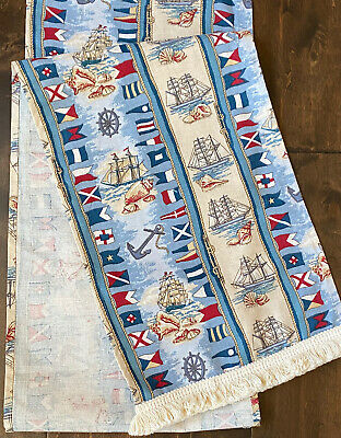 Nautical Portofino Table Runner Ships Fringed  Maritime Flags Spode