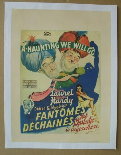 A HAUNTING WE WILL GO (1942) Original Belgian Poster On Linen, Laurel & Hardy