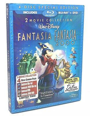 Fantasia / Fantasia 2000 (Blu-ray+DVD, 2010; 4-Disc Special Ed.) NEW w/Slipcover