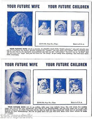2 Your Future Wife, Children 1935 Esco Humor Exhibit Supply Co gag Arcade Card e