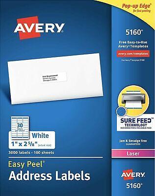 Avery 5160 Easy Peel White Address Label Laser Printer Pop-up Edge 3000 1x 2 58