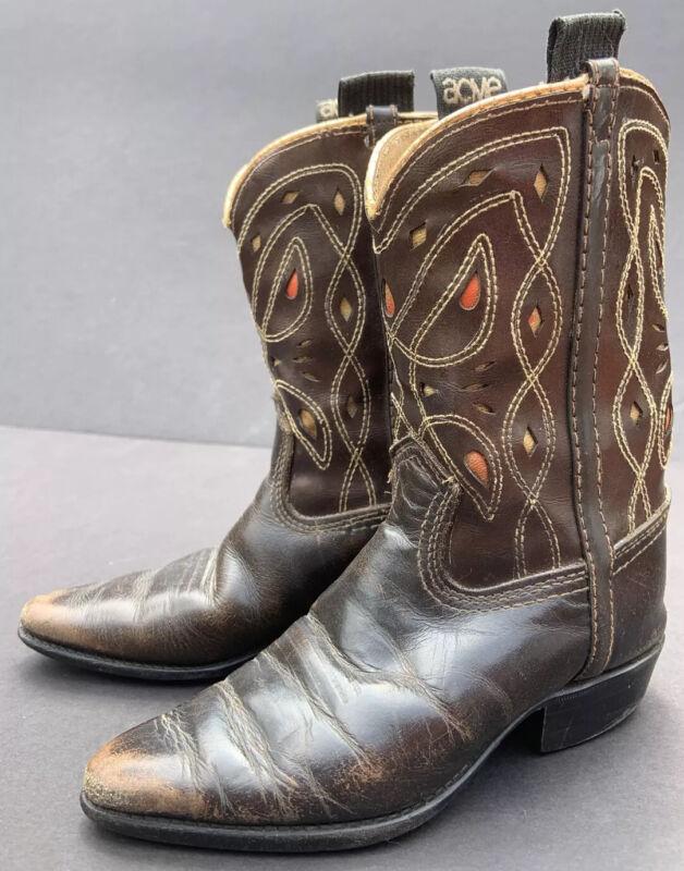 ACME Vintage Kids Brown Genuine Leather Western Cowboy Boots