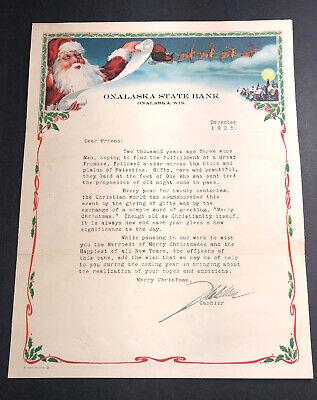 Onalaska Wisconsin Bank Letterhead Color Graphics Santa Claus Christmas 1925 ()