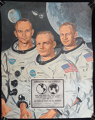 Apollo XI 1969 Moon Walk - Lithograph Print - Armstrong, Aldrin & Collins NASA