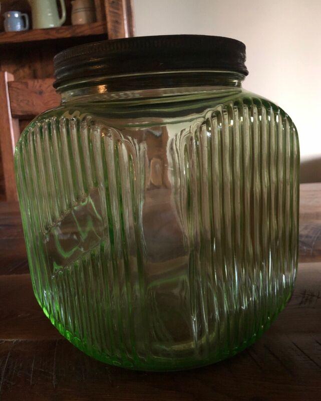 Antique Vintage Green Depression Glass Ribbed Canister Jar w/Lid