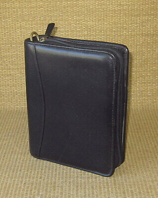 Compact Franklin Coveyquest Black Leather 1.25 Rings Zip Plannerbinder Usa