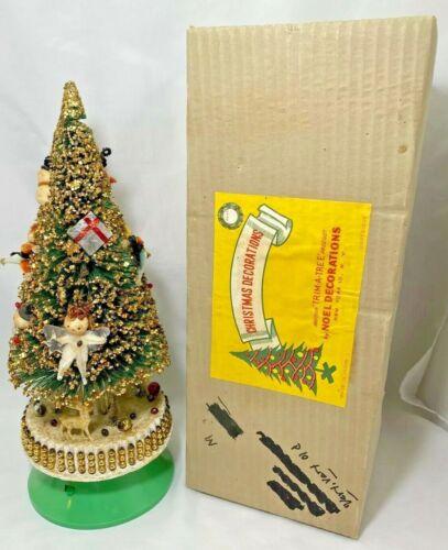 Bottle Brush Mercury Glass Glitter Christmas Tree Rotating Music Box Dec Vintage