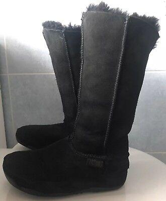 """Fitflop Mukluk Boots (FitFlop """"Mukluk"""" Tall Warmlined Shearling Sheepskin Boots Black # Size UK 4)"""