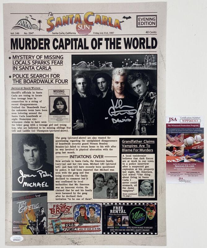 KIEFER SUTHERLAND & JASON PATRIC signed 12x18 Poster Newspaper The Lost Boys JSA