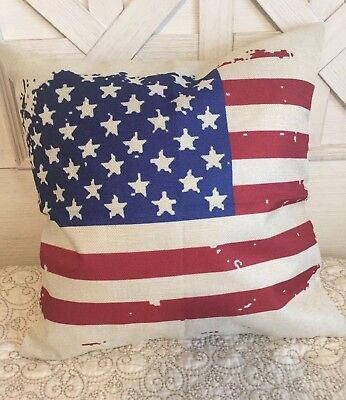 "Vintage US Flag Pillow Cover 18"" Summer Farmhouse Home Decor Patriotic America](Patriotic Pillows)"
