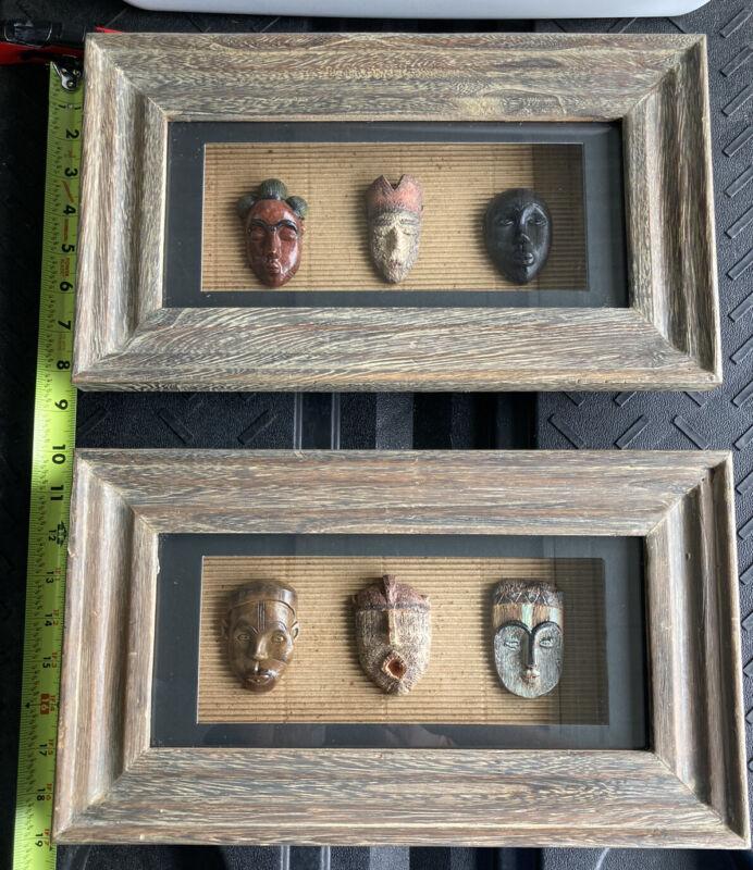 African Mask Wood Framed Wall Art - Set of 2