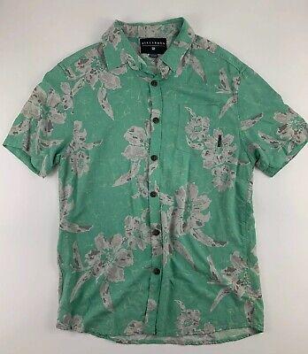 Billabong Mens Short Sleeve Button Down Sz M Green Hawaiian Shirt