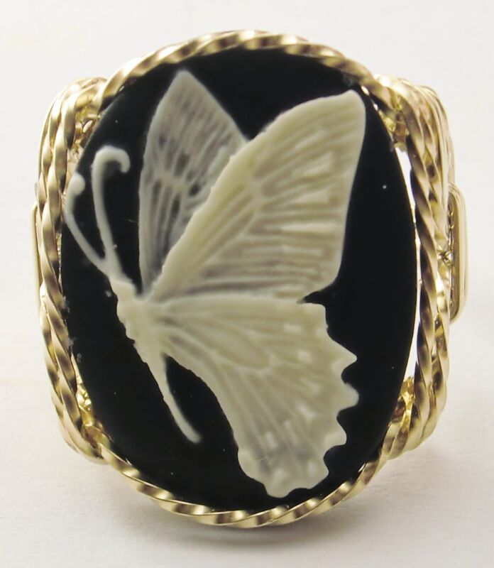 Butterfly Cameo Ring 14k Rolled Gold Black Fine Jewelry