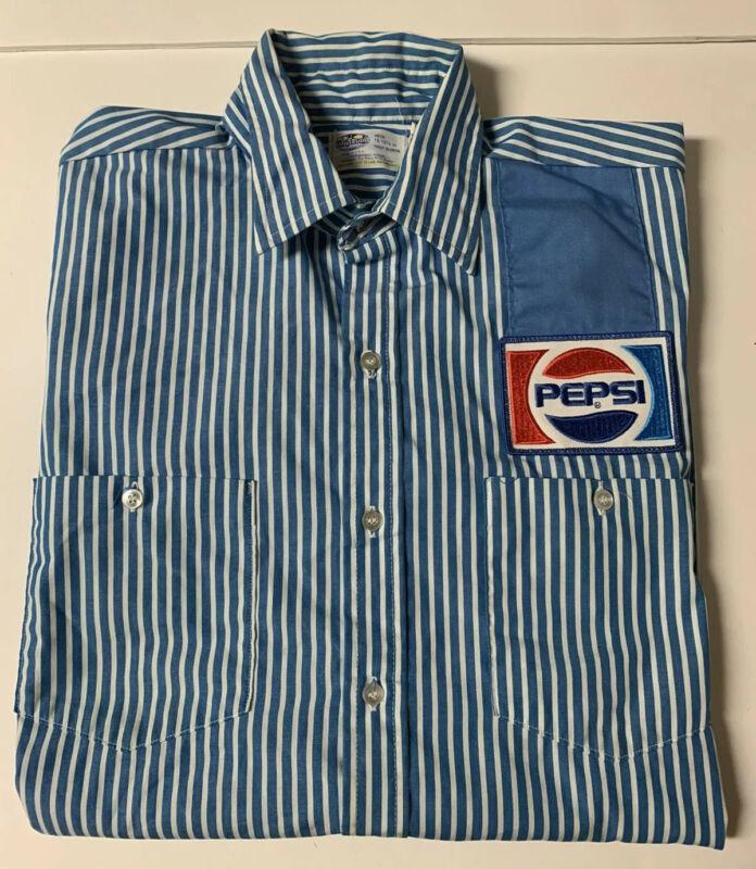 "Vintage Pepsi Employee Delivery Driver Stripe Work Shirt ~Half Sleeve 15-15 1/2"""