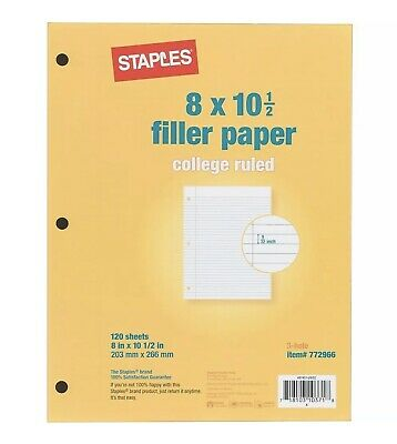 Staples College Ruled Filler Paper 8 X 10-12 120pack 37427m 772966