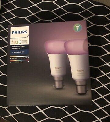 Philips Hue White & Colour Ambiance LED Bulb B22 - Twin Pack Apple HomeKit Alexa