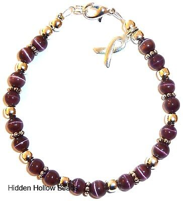 Pancreatic (Dark Purple) Cancer Awareness wire Bracelet 7 3/4 inches, packaged (Purple Cancer)