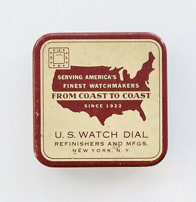 VINTAGE U.S. WATCH DIAL REFINISHERS & MFGS. ADVERTISING PARTS METAL TIN USED