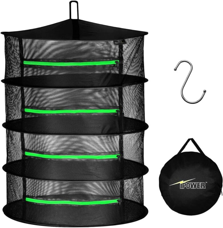 iPower 2ft 4/6/8-Layer Hanging Herb Mesh Rack Foldable Drying Net with Zippers