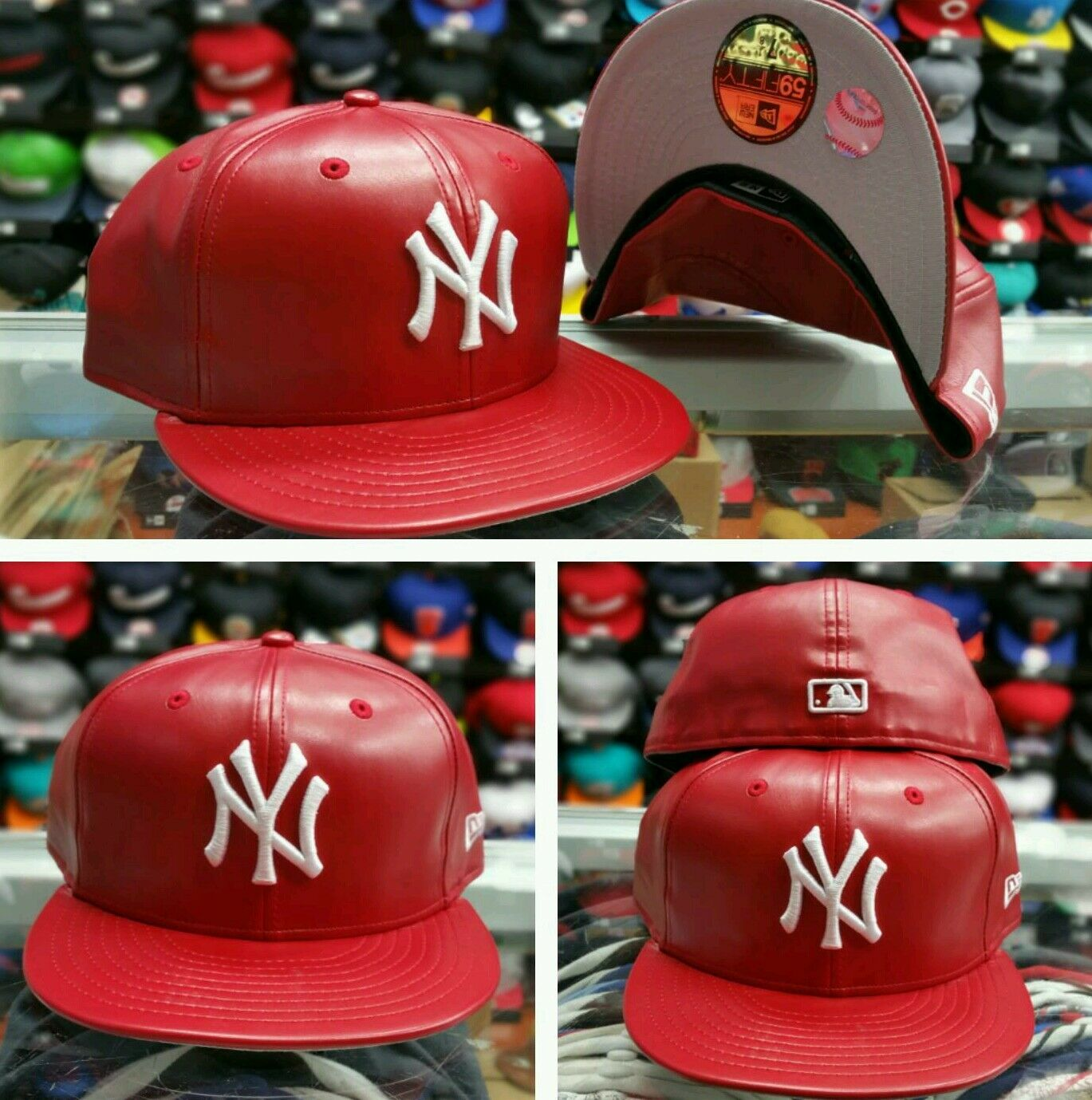New Era 5950 New York Yankees Red Leather Men S Fitted Mlb