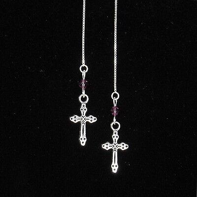 (*SJ1* Cross Charm Sterling Silver Threader Dangle Earrings w/ Upick Swarovski)