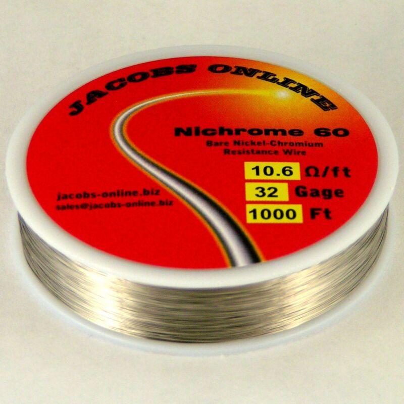 Nichrome 60 resistance wire, 32 AWG (gauge), 1000 feet