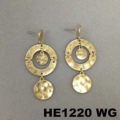 Unique Abstract Hammered Charms Round Drop Dangle  Gold Finish Stud Earrings